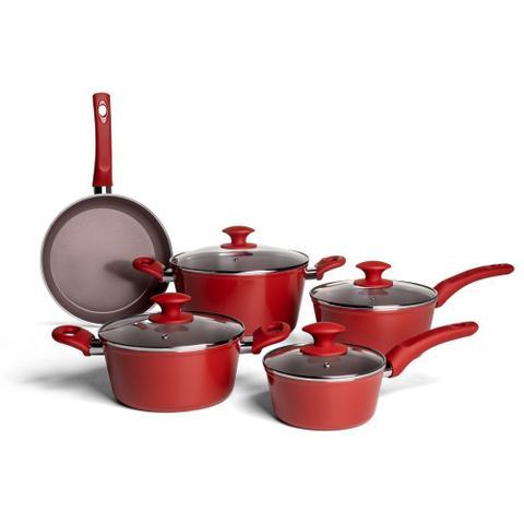 Imagem de Conjunto Panelas Brinox 5 Peças Cerâmica Life com Fundo Indução Optima - Vermelho