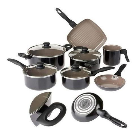 Imagem de Conjunto panelas brinox 7 peças ceramic life easy preto