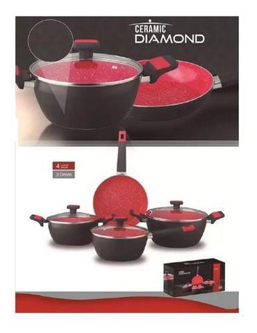 Imagem de Conjunto Panelas Ceramic Diamond 4 Peças 3,0mm Class Home