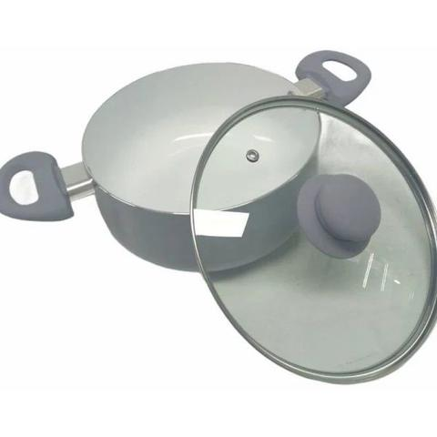 Imagem de Conjunto Panelas Revestimento Cerâmico Antiaderente 5 Pecas Cinza