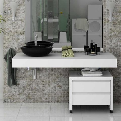 Imagem de Conjunto para Banheiro com Bancada sem Cuba e Gaveteiro  Branco