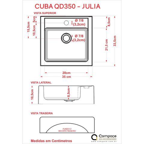 Imagem de Conjunto para Banheiro Gabinete com Cuba Q35 e Prateleira 605W Metrópole Compace Carvalho Dark