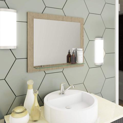 Imagem de Conjunto para Banheiro Gabinete com Cuba Sobreposta Base de Vidro e Espelho Espresso Móveis Amêndoa/Carvalho