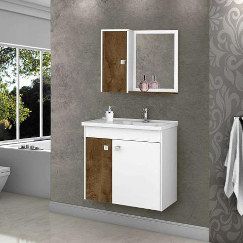 Imagem de Conjunto para Banheiro Munique Madeira Rústica e Branco