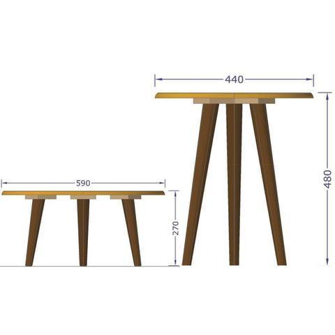 Imagem de Conjunto Para Sala de Estar com Mesa de Centro e Mesa Lateral Amarelo Brilho - Lyam Decor