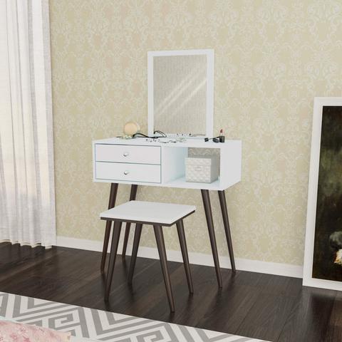 Imagem de Conjunto Penteadeira 2 Gavetas com Espelho e Banqueta Estofada Retrô Movelbento Branco