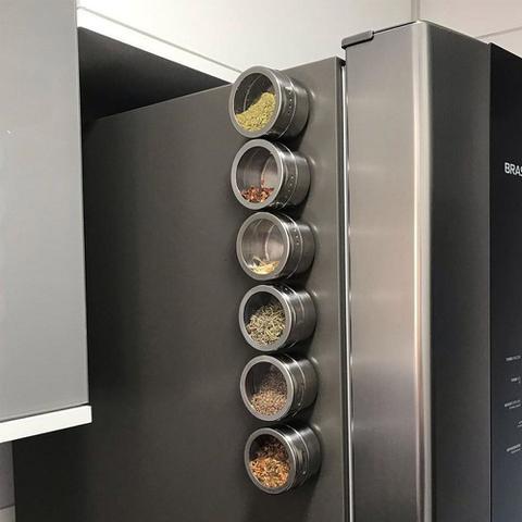 Imagem de Conjunto Porta Temperos Condimentos Imã Geladeira Magnético Inox - Kit 3 Peças