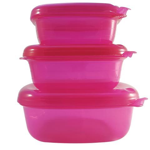 Imagem de Conjunto Pote Hermético Quadrado 3 Peças Freezer Microondas Pink