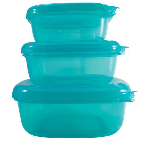 Imagem de Conjunto Pote Hermético Quadrado 3 Peças Freezer Microondas Verde Tiffany