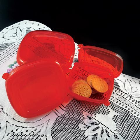 Imagem de Conjunto Pote Hermético Quadrado 3 Peças Freezer Microondas Vermelho