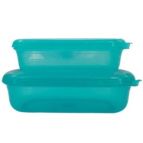 Imagem de Conjunto Pote Hermético Retangular Verde Tiffany Freezer Microondas