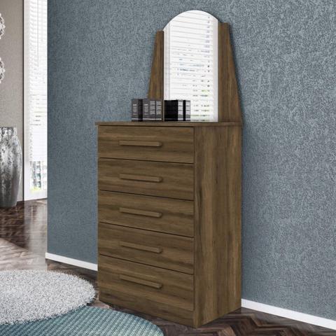 Imagem de Conjunto Quarto de Solteiro Cômoda com Espelho 5 Gavetas e Penteadeira com Espelho Espresso Móveis Cedro/Branco Textura