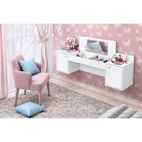 Imagem de Conjunto Quarto de Solteiro Penteadeira com Espelho e Cômoda com Espelho 5 Gavetas Espresso Móveis Cedro/Branco Textura