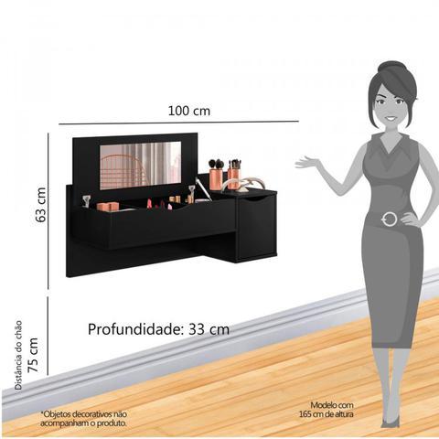 Imagem de Conjunto Quarto de Solteiro Penteadeira Suspensa com Espelho e Cômoda 5 Gavetas Espresso Móveis Cedro/Preto Fosco