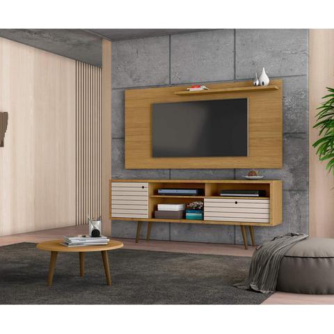 Imagem de Conjunto Rack com Painel Esmeralda para TV até 50 polegadas e Mesa de Centro Retrô Móveis Bechara Cinamomo/Off White