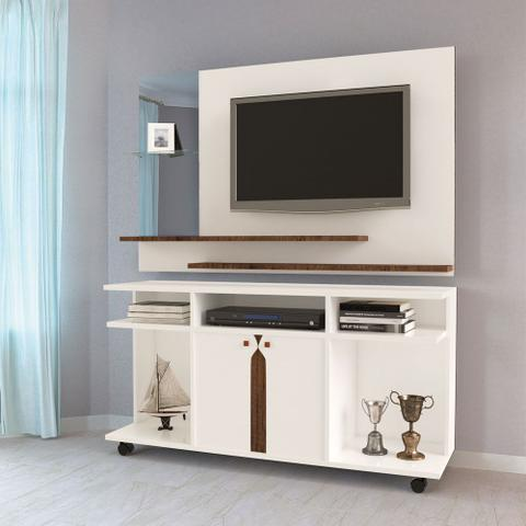 Imagem de Conjunto Rack Com Rodízios Painel Com Espelho Branco Canela