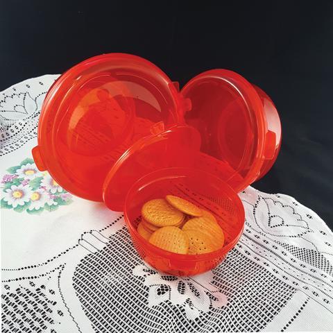 Imagem de Conjunto Redondo 3 Peças Pote Hermético Freezer Microondas Vermelho