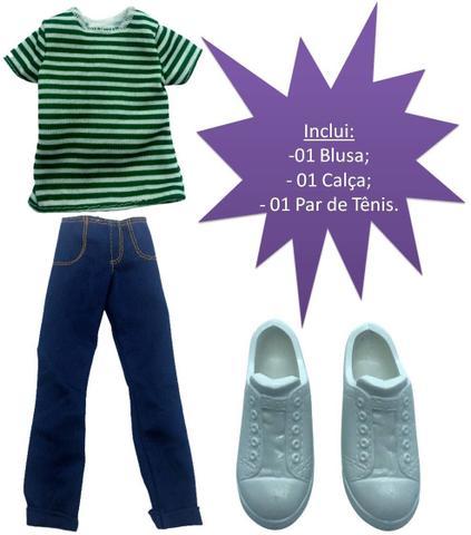 Imagem de Conjunto Roupinha Casual Moderno Para Boneco Ken Fashionista Blusa Calça Jeans Tênis Branco - Mattel