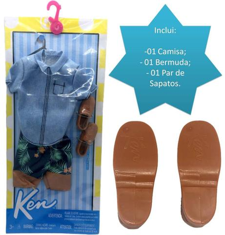Imagem de Conjunto Roupinha Estilo Havaiano Para Boneco Ken Fashionista Camisa Jeans Bermuda Sapatos - Mattel