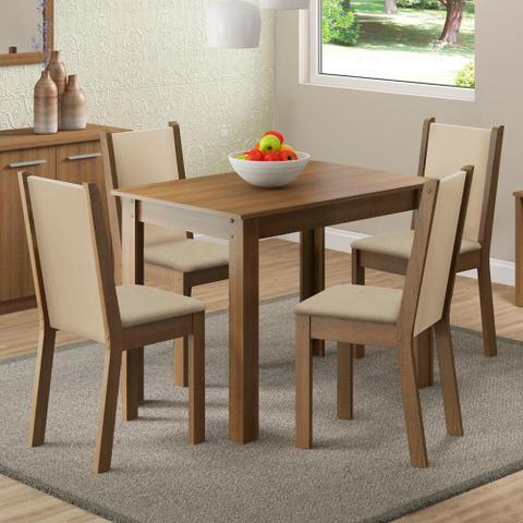 Imagem de Conjunto Sala de Jantar Cíntia Madesa Mesa Tampo de Madeira com 4 Cadeiras