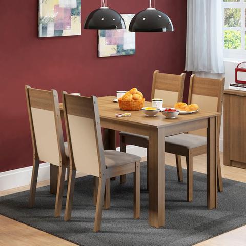 Imagem de Conjunto Sala de Jantar Havana Madesa Mesa Tampo de Madeira com 4 Cadeiras