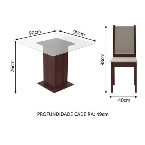 Imagem de Conjunto Sala de Jantar Isis Madesa Mesa Tampo de Vidro com 4 Cadeiras