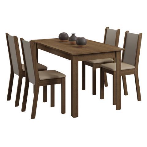 Imagem de Conjunto Sala de Jantar Madesa Bea Mesa Tampo de Madeira com 4 Cadeiras