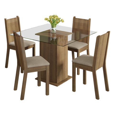 Imagem de Conjunto Sala de Jantar Magda Madesa Mesa Tampo de Vidro com 4 Cadeiras