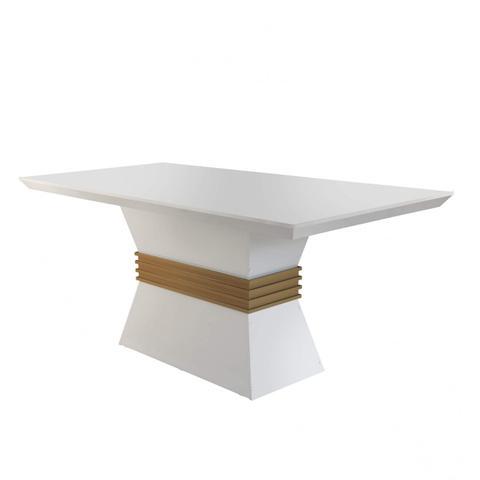 Imagem de Conjunto Sala de Jantar Mesa 4 Cadeiras Luísa Siena Móveis Veludo Creme/Off White/Imbuia