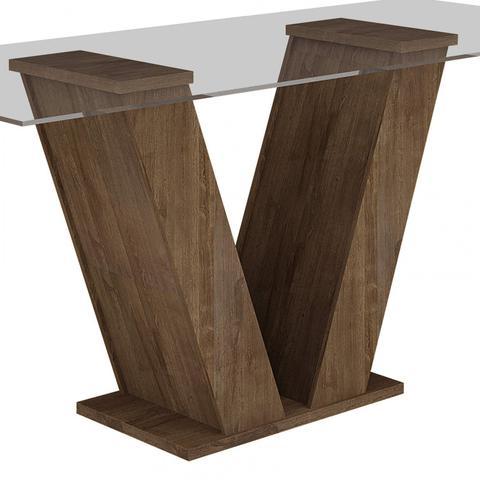 Imagem de Conjunto Sala de Jantar Mesa Classic Tampo de Vidro 4 Cadeiras Vitória Cel Móveis Chocolate/Suede Cinza 90