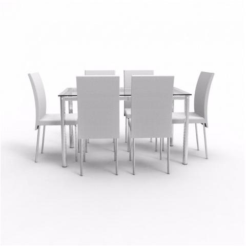 Imagem de Conjunto Sala de Jantar Mesa Diana 6 Cadeiras Viana Siena Móveis Cromado/Marfim