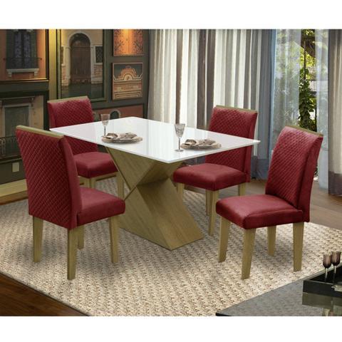 Imagem de Conjunto Sala de Jantar Mesa e 4 Cadeiras Napoli Dobuê