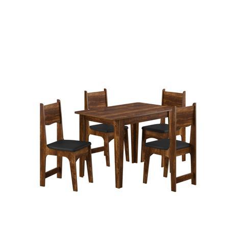 Imagem de Conjunto Sala de Jantar Mesa e 4 Cadeiras Nicoli Soneto Móveis Rústico/Preto