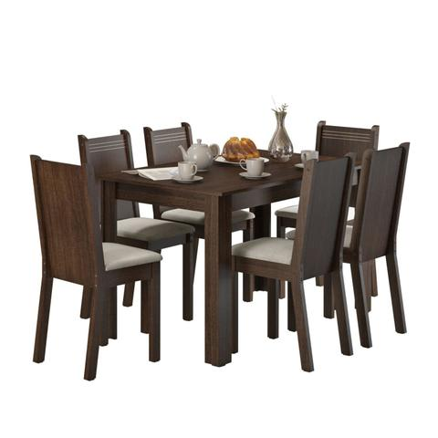 Imagem de Conjunto Sala de Jantar Mesa e 6 Cadeiras Maris Madesa Tabaco/Pérola