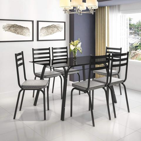 Imagem de Conjunto Sala de Jantar Mesa Lotus Tampo de Vidro Preto e 6 Cadeiras Artefamol Preto/Platina