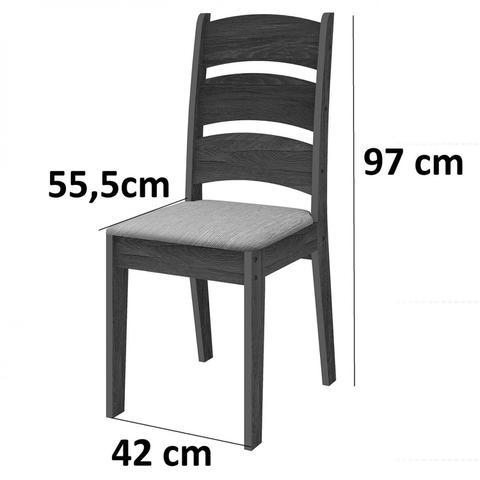 Imagem de Conjunto Sala de Jantar Mesa Madri 6 Cadeiras Monique Celta Móveis Amêndoa/Preto