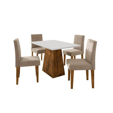 Imagem de Conjunto Sala de Jantar Mesa Manuele 4 Cadeiras Giovana Siena Móveis Canela/Bege