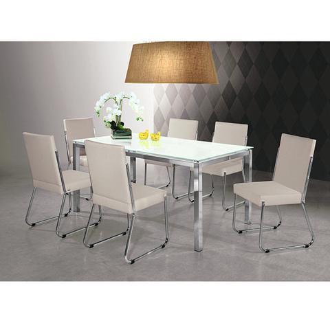 Imagem de Conjunto Sala de Jantar Mesa Olivia 6 Cadeiras Deise Yescasa Bege/Prata