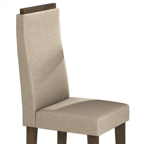 Imagem de Conjunto Sala de Jantar Mesa Tampo em Vidro 6 Cadeiras Dafne Móveis Lopas Imbuia/Rinzai Bege