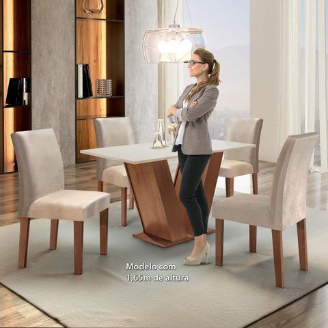 Imagem de Conjunto Sala de Jantar Mesa Tampo MDF 4 Cadeiras Espanha Siena Móveis Chocolate