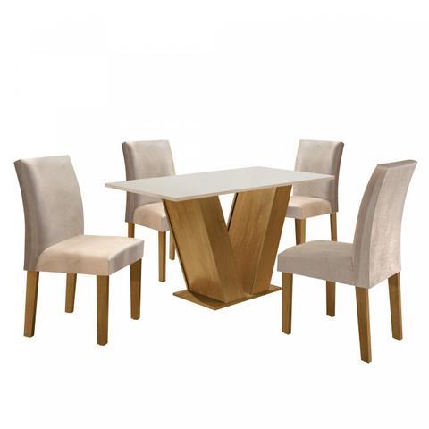 Imagem de Conjunto Sala de Jantar Mesa Tampo MDF 4 Cadeiras Espanha Siena Móveis Ypê