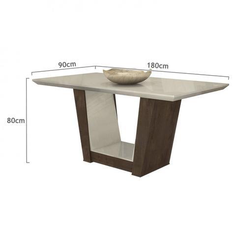 Imagem de Conjunto Sala de Jantar Mesa Tampo MDF 6 Cadeiras Apogeu II Móveis Lopas Imbuia/Rinzai Bege