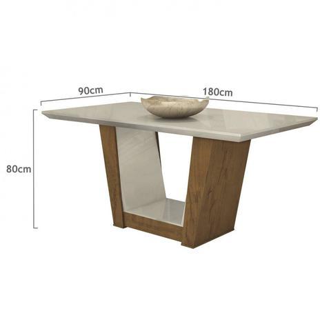 Imagem de Conjunto Sala de Jantar Mesa Tampo MDF 6 Cadeiras Apogeu Móveis Lopas  Rovere/Rinzai Bege
