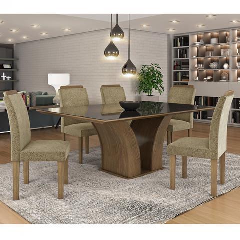 Imagem de Conjunto Sala de Jantar Mesa Tampo MDF/Vidro Leblom 6 Cadeiras Pietra Tik Plus Siena Móveis Castanho/Tampo Preto