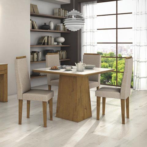 Imagem de Conjunto Sala de Jantar Mesa Tampo MDF/Vidro Off White Nevada 100  4 Cadeiras Dafne Móveis Lopas  Rovere/Rinzai Bege