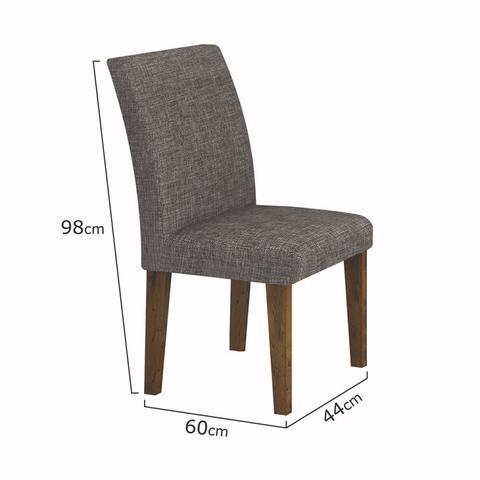 Imagem de Conjunto Sala de Jantar Mesa Tampo Vidro 120cm 4 Cadeiras Olímpia New Leifer Canela/Linho Cinza