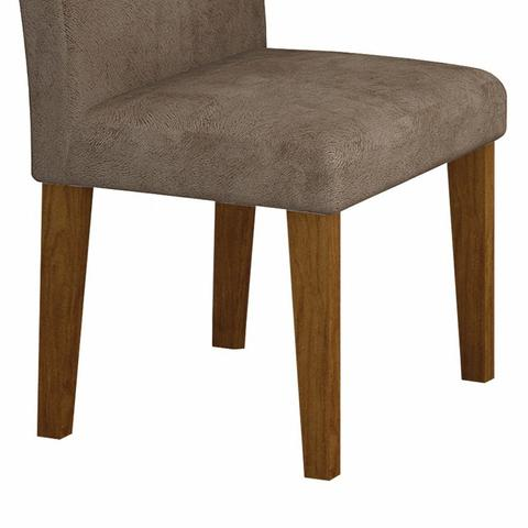 Imagem de Conjunto Sala de Jantar Mesa Tampo Vidro 120cm 4 Cadeiras Olímpia New Leifer Imbuia Mel/Animale Capuccino