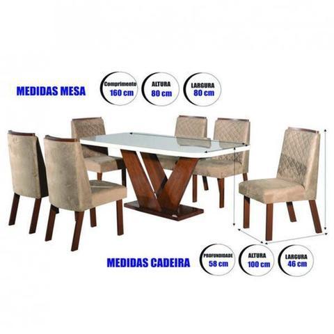 Imagem de Conjunto Sala de Jantar Mesa Tampo Vidro e MDF 6 Cadeiras Yescasa Amendoa