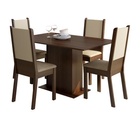Imagem de Conjunto Sala de Jantar Rita Madesa Mesa Tampo de Madeira com 4 Cadeiras