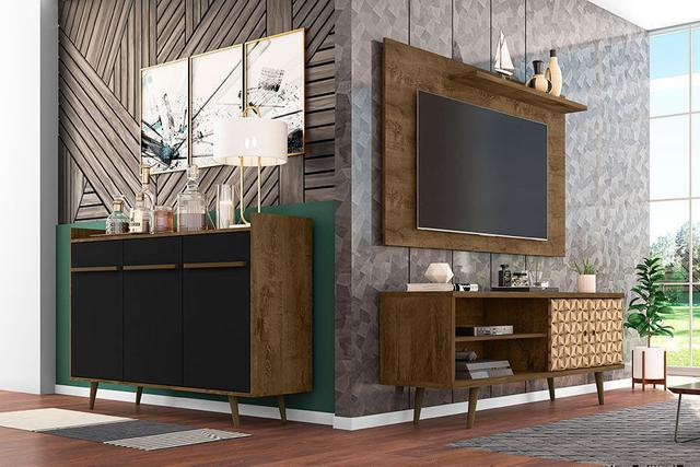 Imagem de Conjunto Sala Tv Rack Onix Painel Chanel Aparador Quartzo